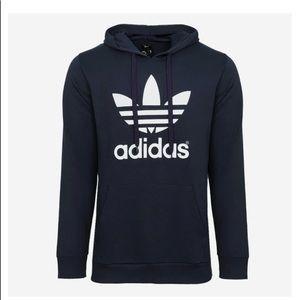 NWT Mens Adidas Navy Blue Trefoil Fleece Hoodie